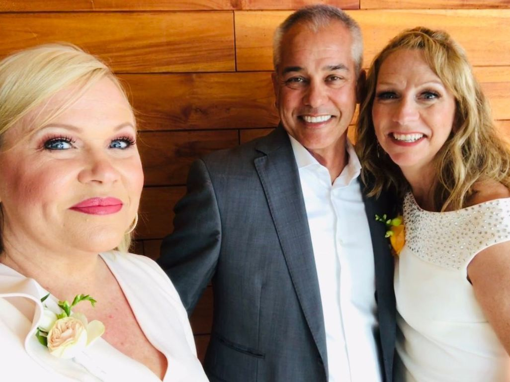 Beth-Mowins-with-her-husband-Alan-Arrollado-and-her-friend-Holly-Rowe