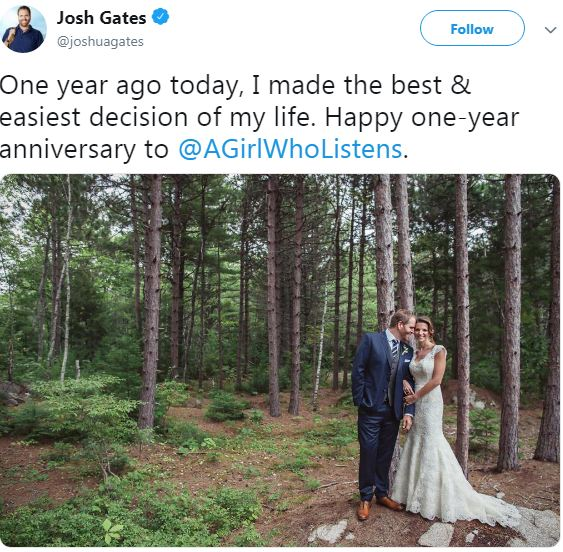 Hallie Gnatovich Wedding Pictures.Josh Gates Married Has Baby With Wife Net Worth Age Bio
